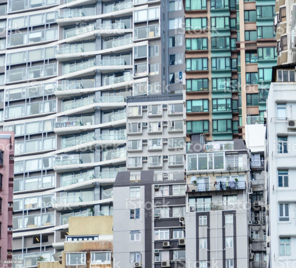 High density apartment buildings in Hong Kong stock photo