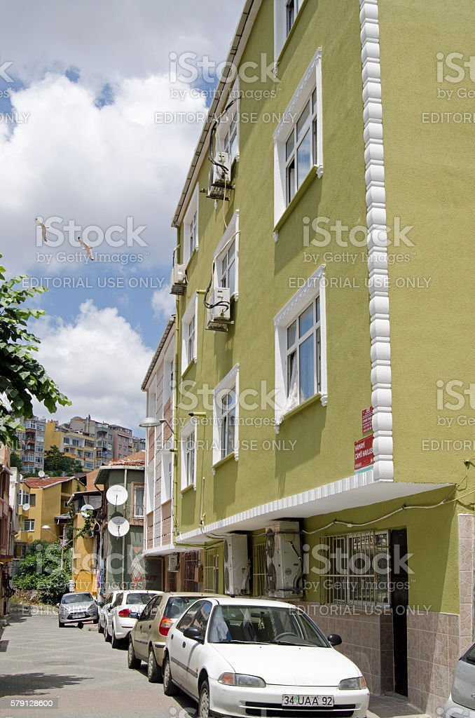 High density housing in Balaat, Istanbul stock photo
