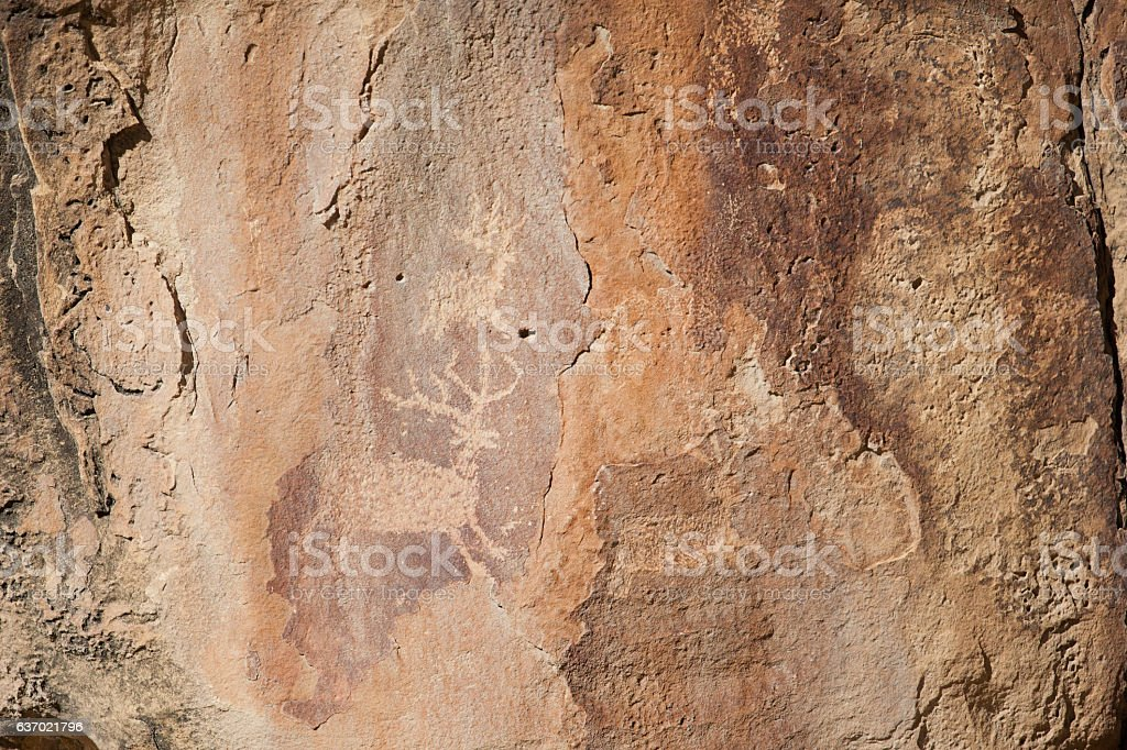 High Desert Colorado Sandstone pictographs and petroglyph stock photo