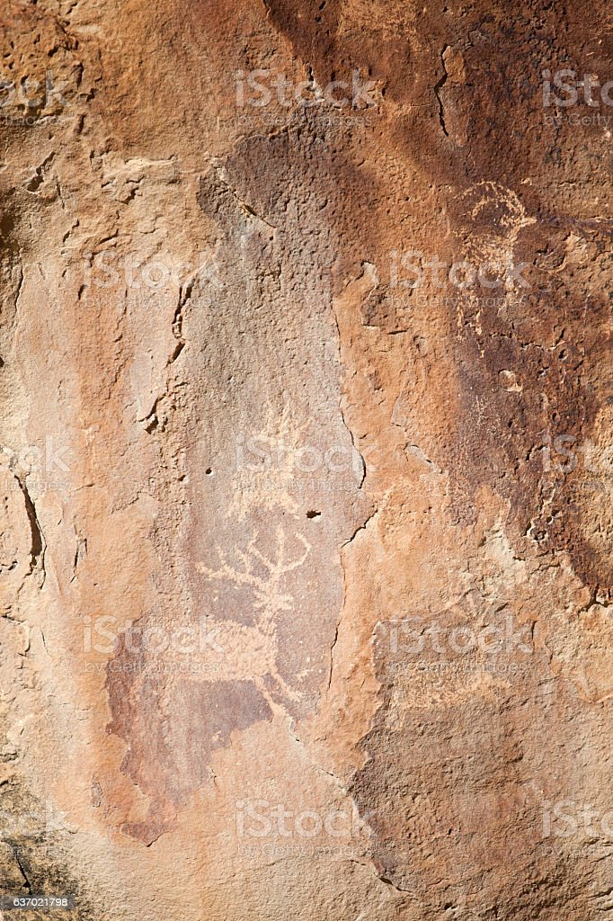 High Desert Colorado Sandstone pictographs and petroglyph stock photo