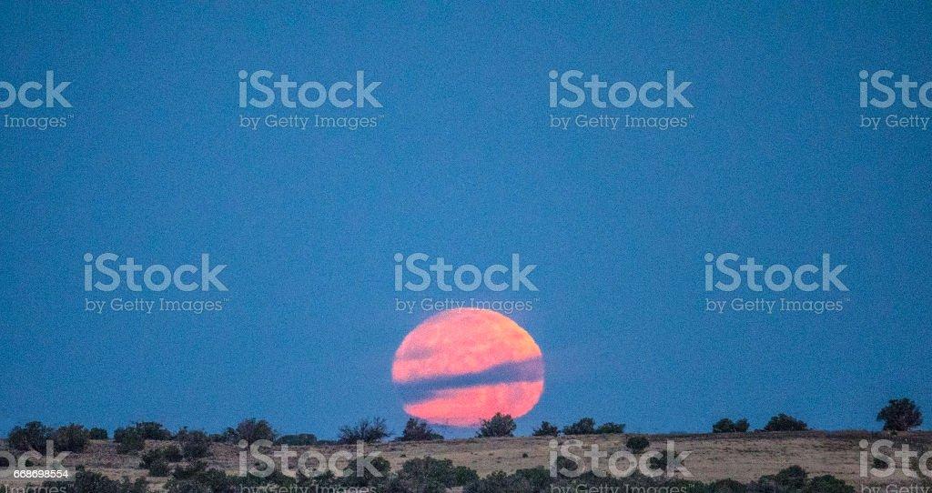 High desert moonset stock photo