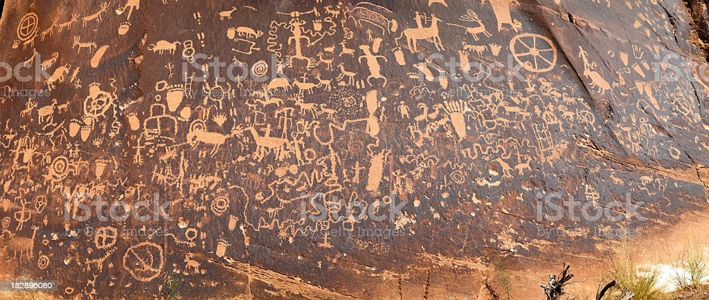 High detail panoramic newspaper rock petroglyphs, Utah. royalty-free stock photo