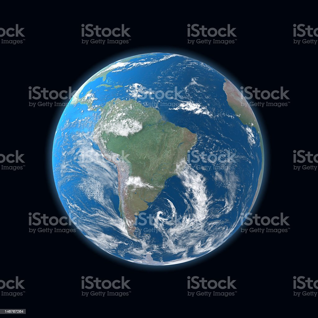 high detailed Earth map, South and Central America royalty-free stock photo