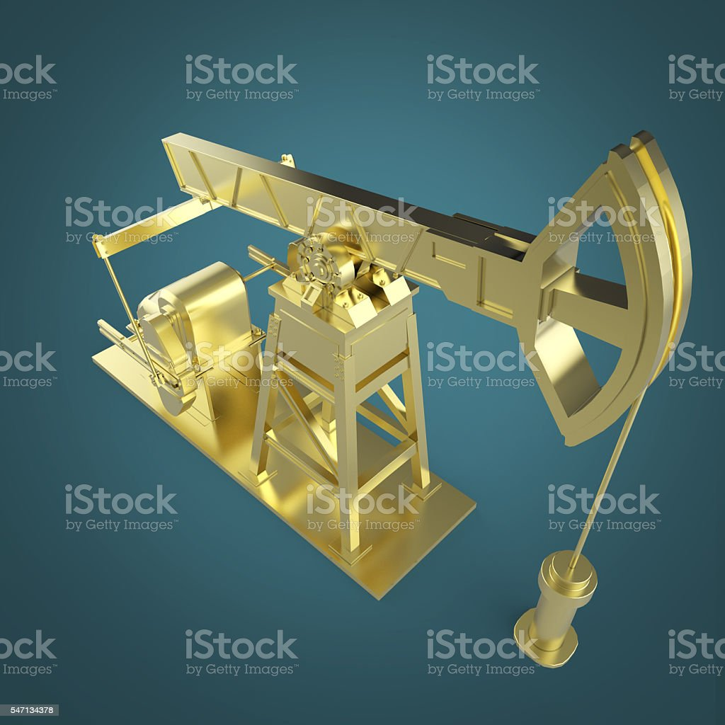 High detailed golden oil pump-jack, rig. isolated rendering.  fuel stock photo
