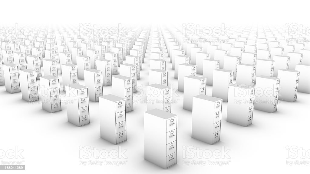 High diagonal view of endless File Cabinets (White) royalty-free stock photo
