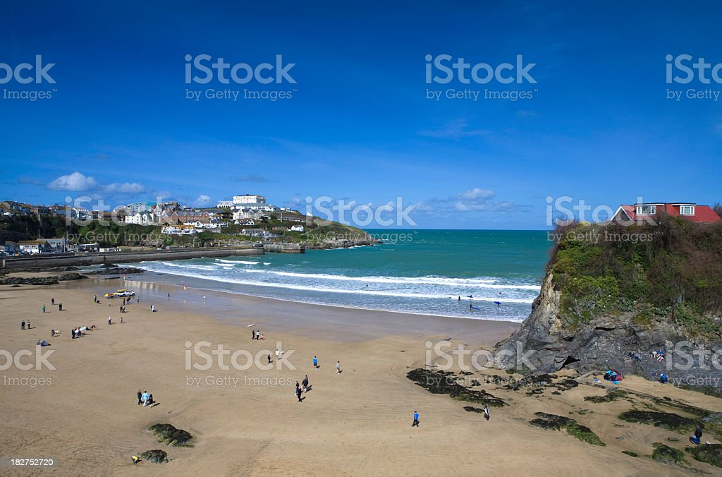 A high distant view of Newquay Bay on a clear day stock photo