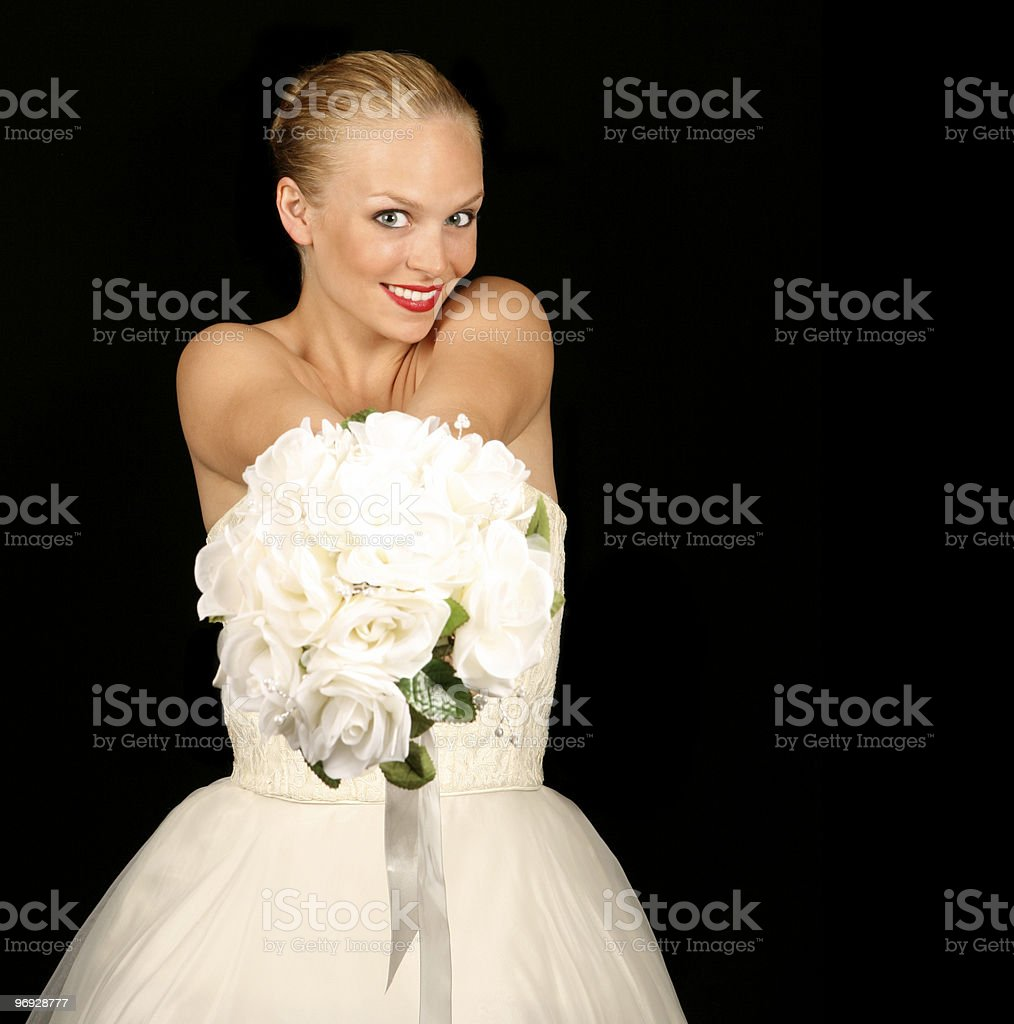 High DOF Image of a Woman Holding Her Bouquet royalty-free stock photo
