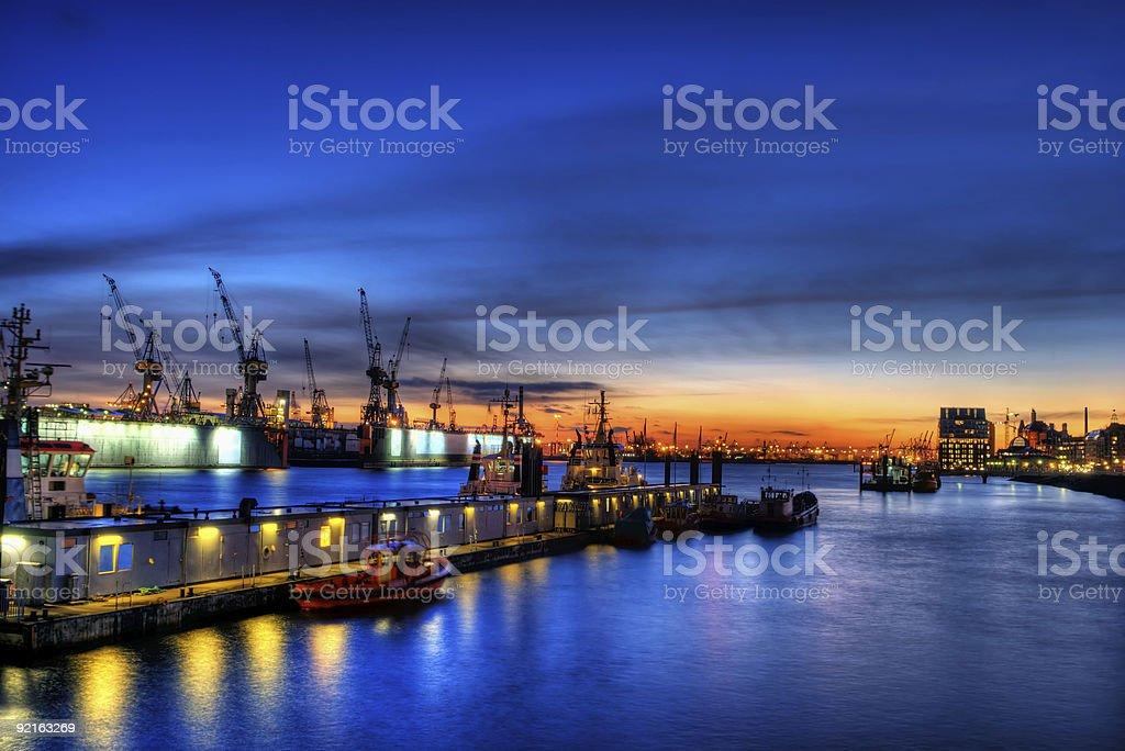 high dynamic range image of the port in Hamburg, Germany stock photo