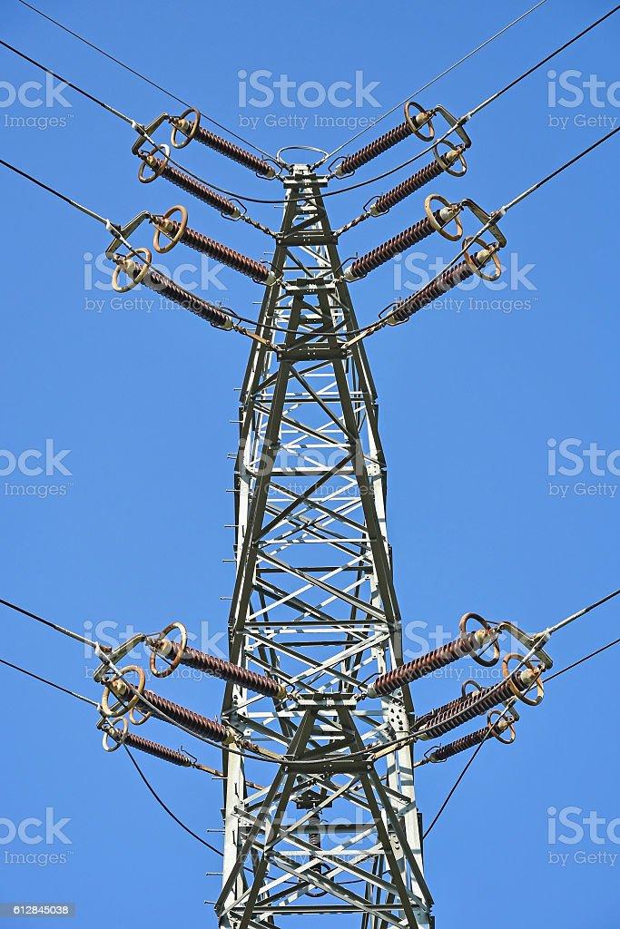 High electricity pylon stock photo
