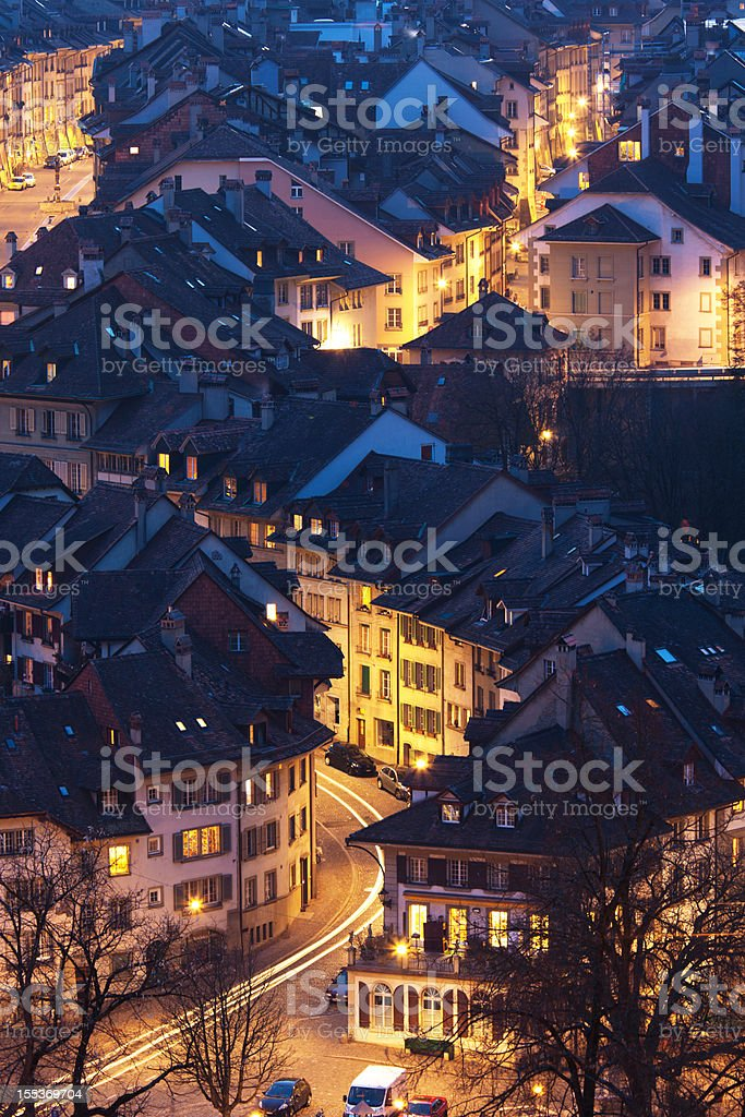 High elevated view of Bern at dusk from Rosengarten royalty-free stock photo