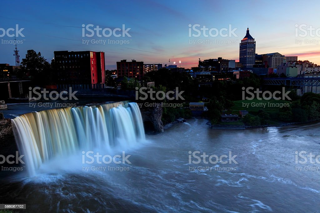 High Falls and the Rochester New York skyline stock photo