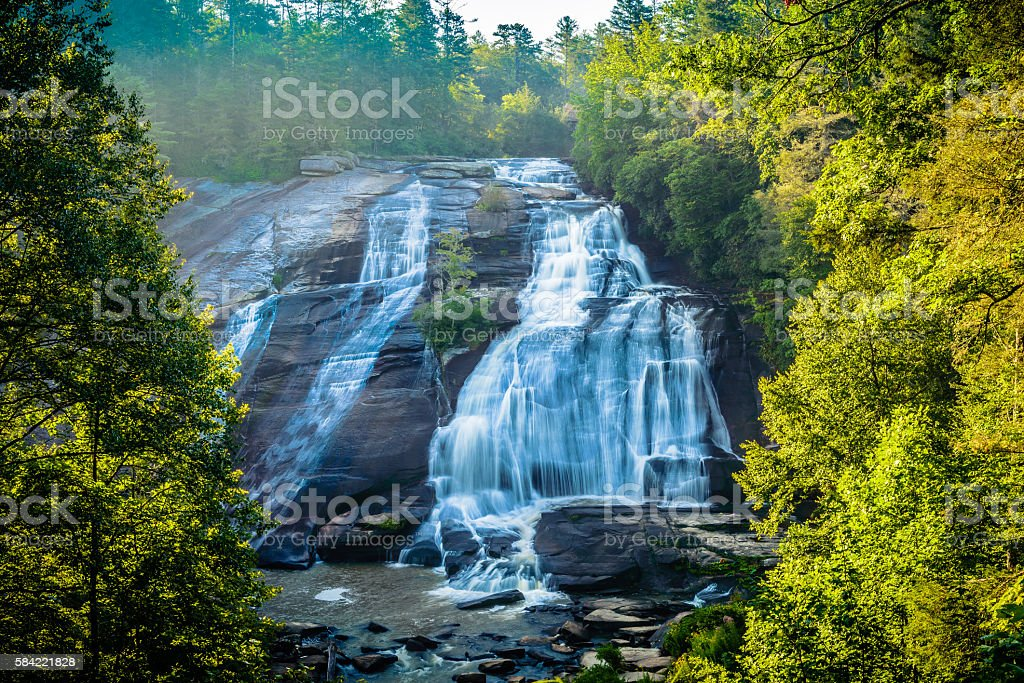 High Falls at Dupont State Recreational Forest Park stock photo