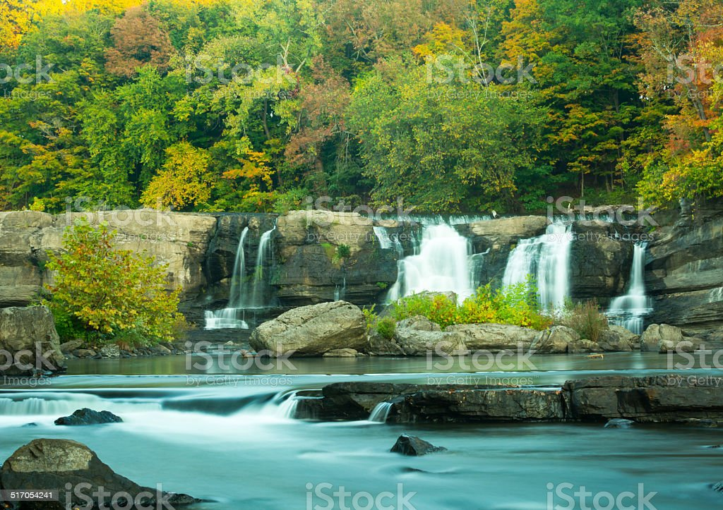 High Falls water fall in autumn. stock photo