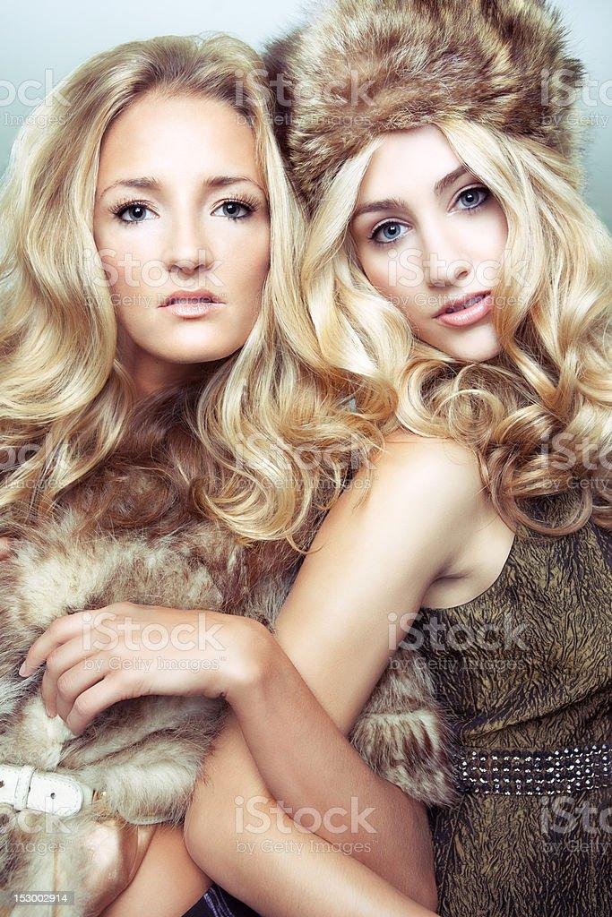 High Fashion Beauty Portrait of Two Women. royalty-free stock photo