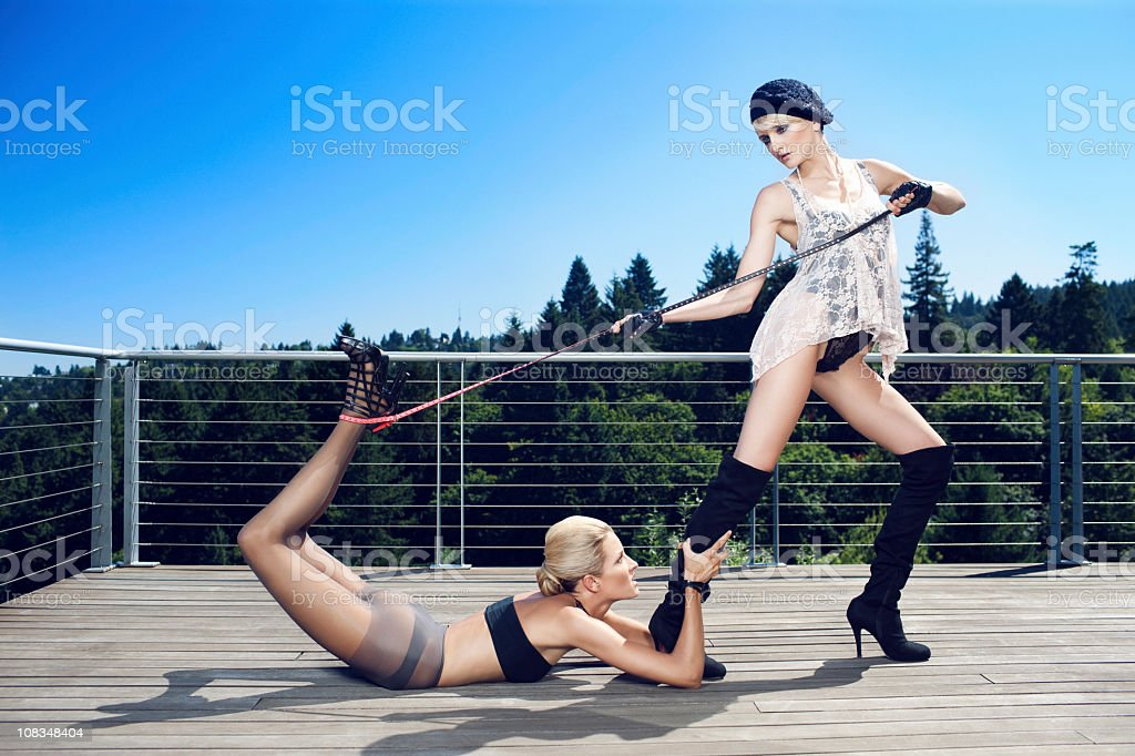 Beautiful Sexy Haute Couture Fashion Models Outdoors, Copy Space stock photo