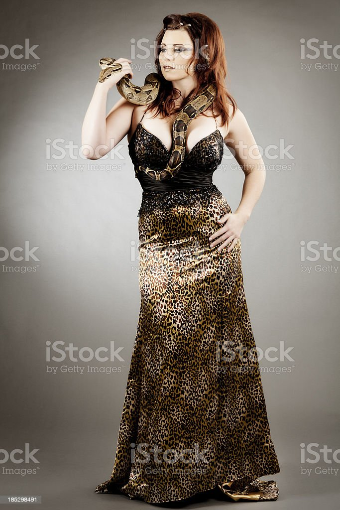 High fashion: elegant model with a snake royalty-free stock photo
