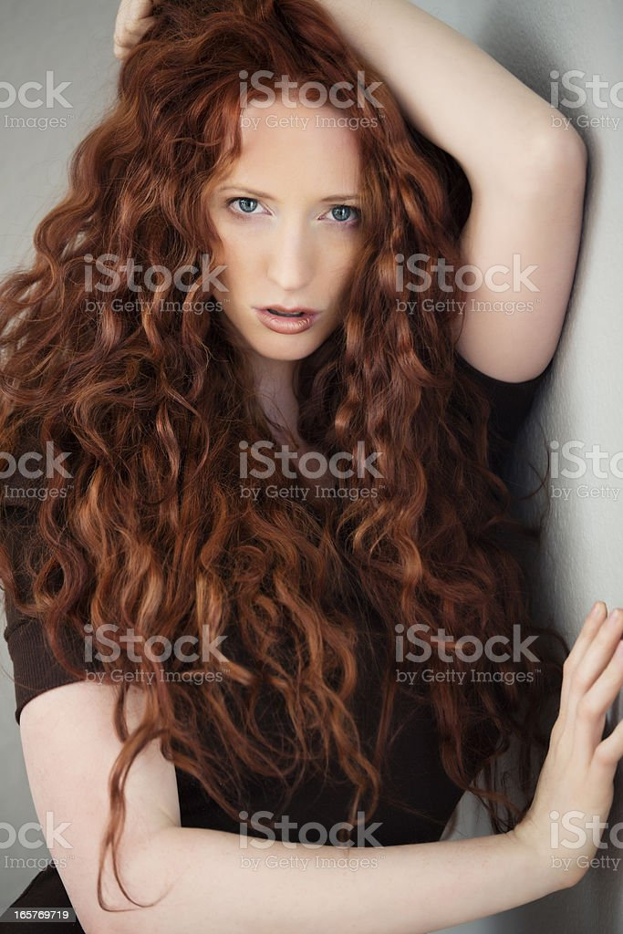 High fashion: elegant model with red hair stock photo