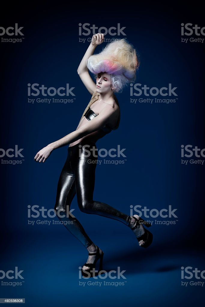 High Fashion Model with Big Dyed Hair stock photo