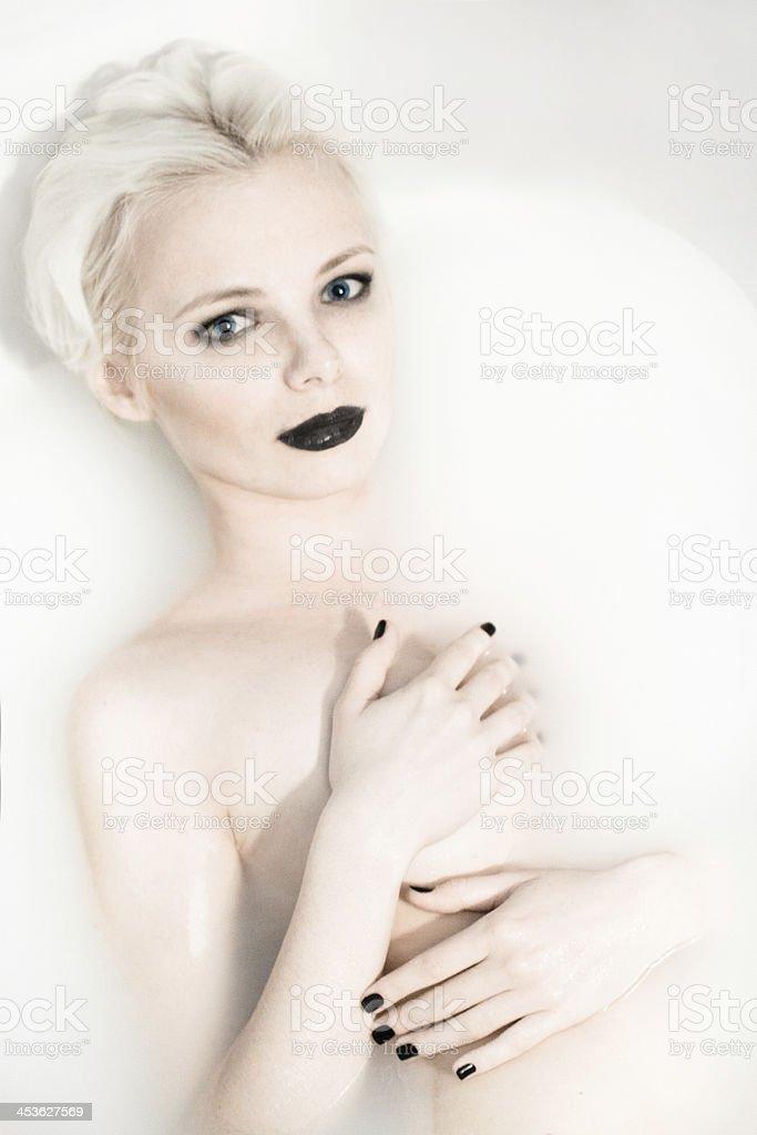 High fashion-black nails and black lips royalty-free stock photo