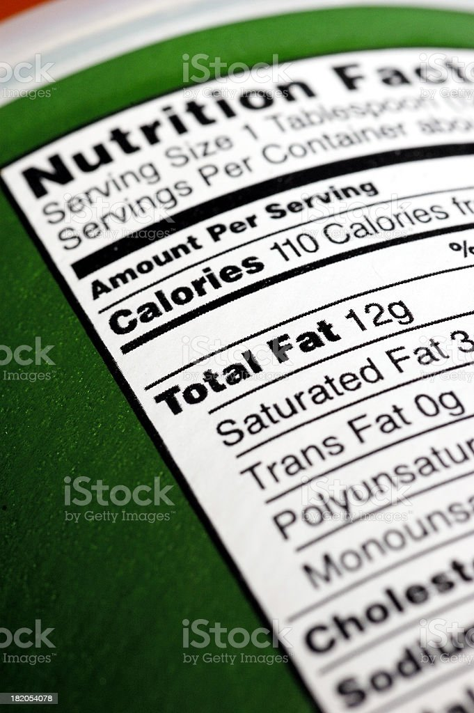 High Fat Nutrition Facts stock photo