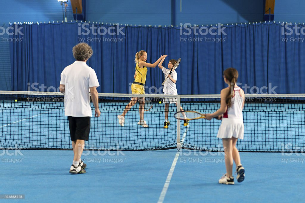High Five After A Tennis Match stock photo