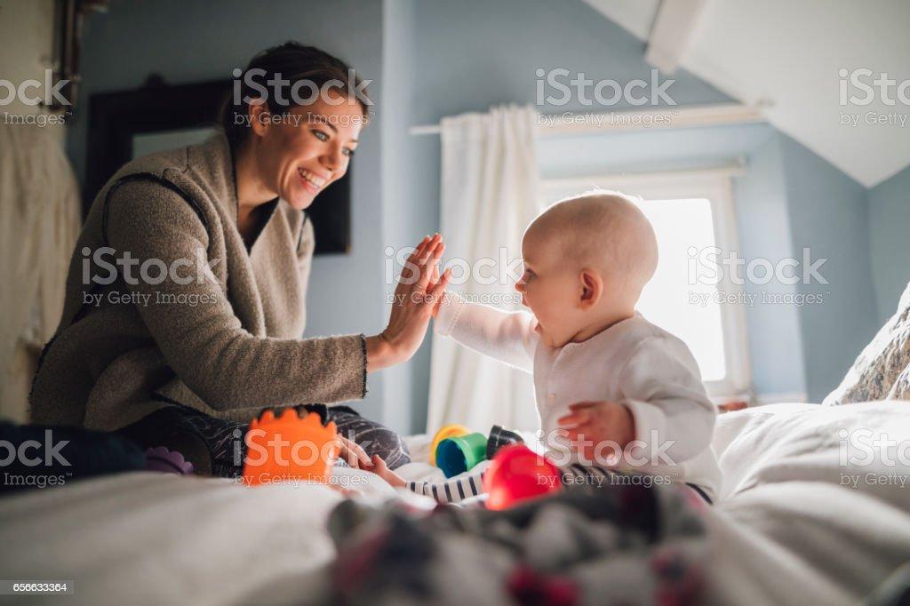 High Five Mum stock photo