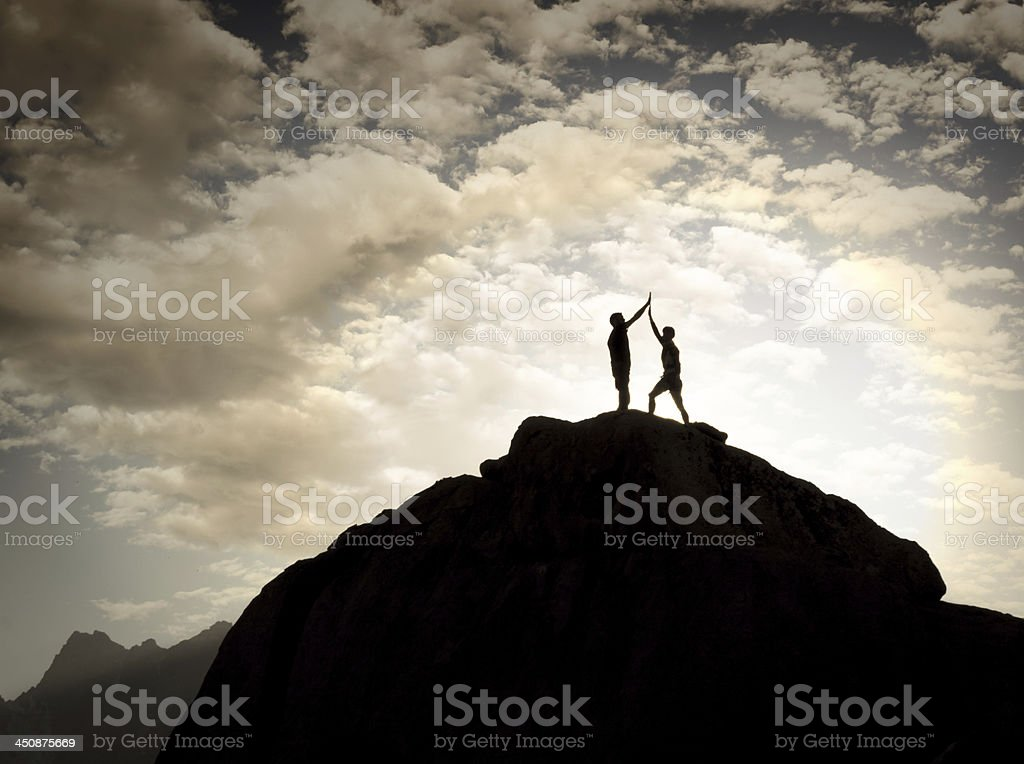 High Five On Top stock photo