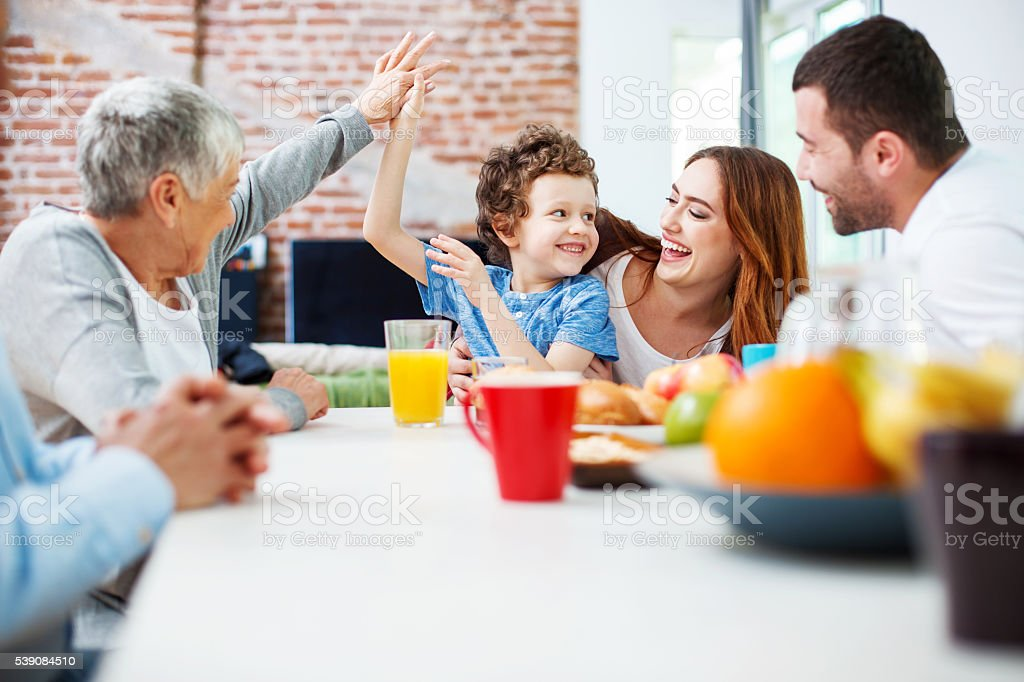 High five with granny stock photo