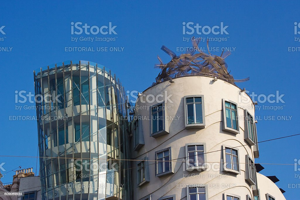 high floors of Dancing House landmark of Prague Czech Republic stock photo