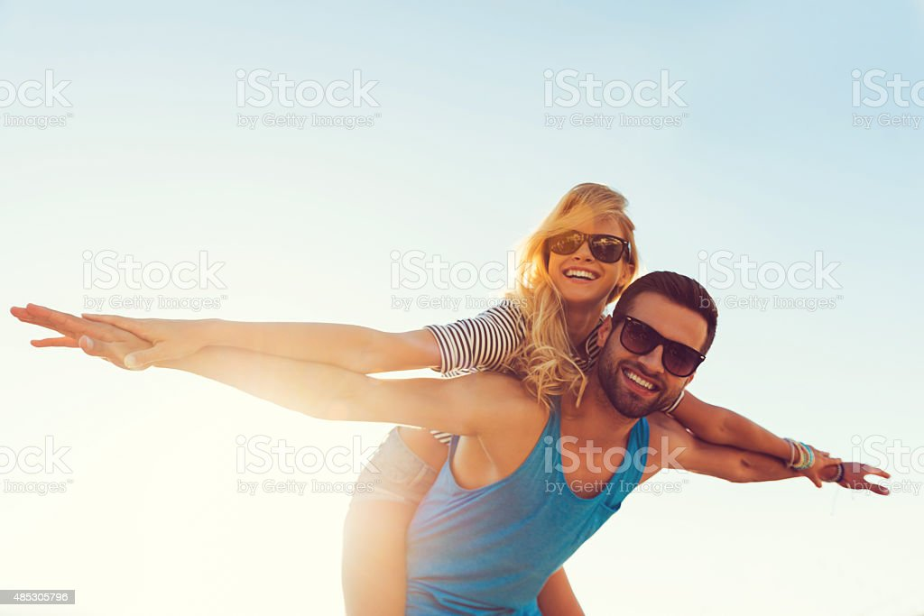 High flying romance. stock photo