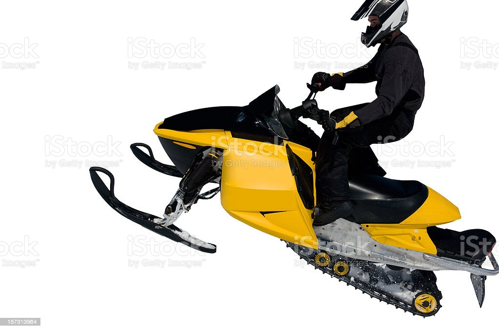 High Flying Snowmobile stock photo