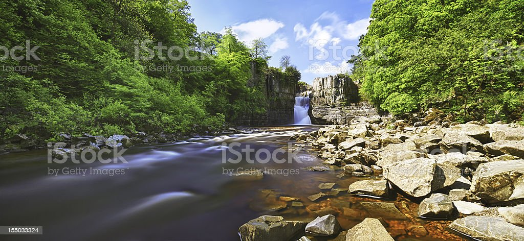 High Force Waterfall HDR Panorama stock photo