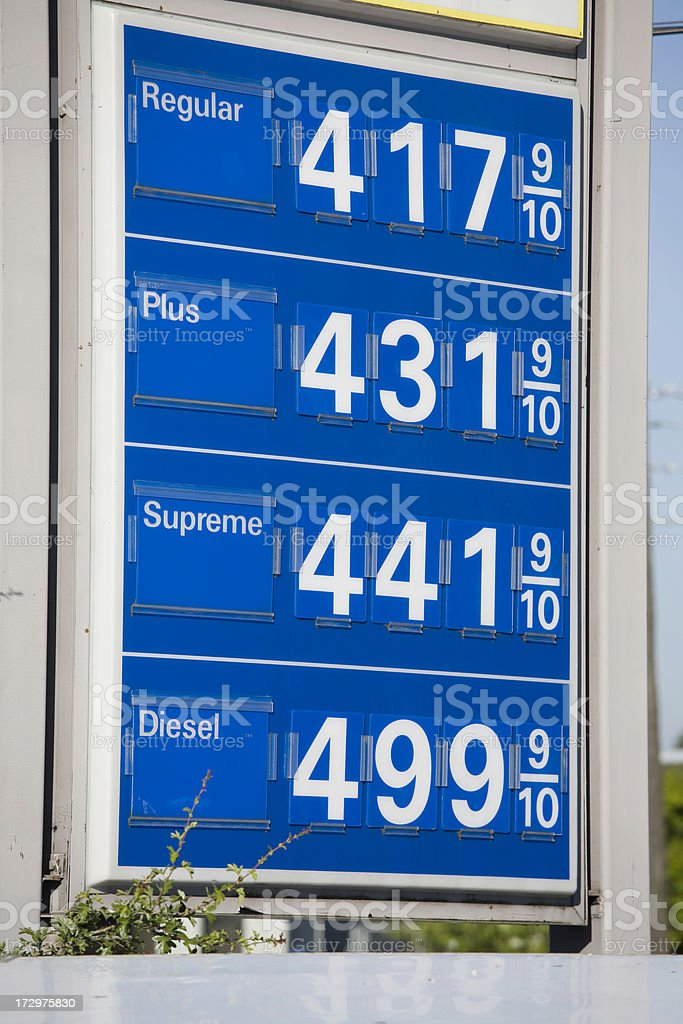 High Gas Prices and Diesel at Five Dollars a Gallon royalty-free stock photo