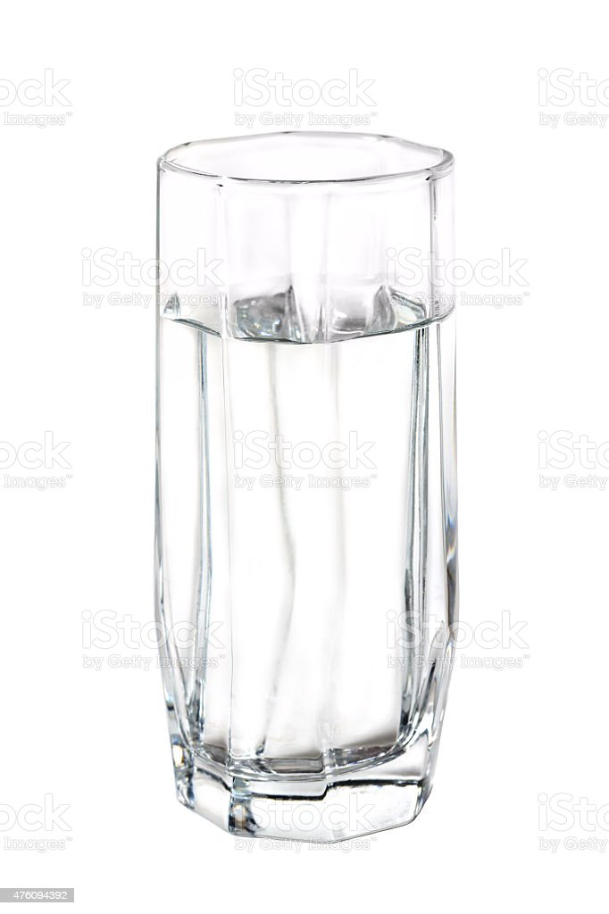 High glass with water isolated on white background stock photo