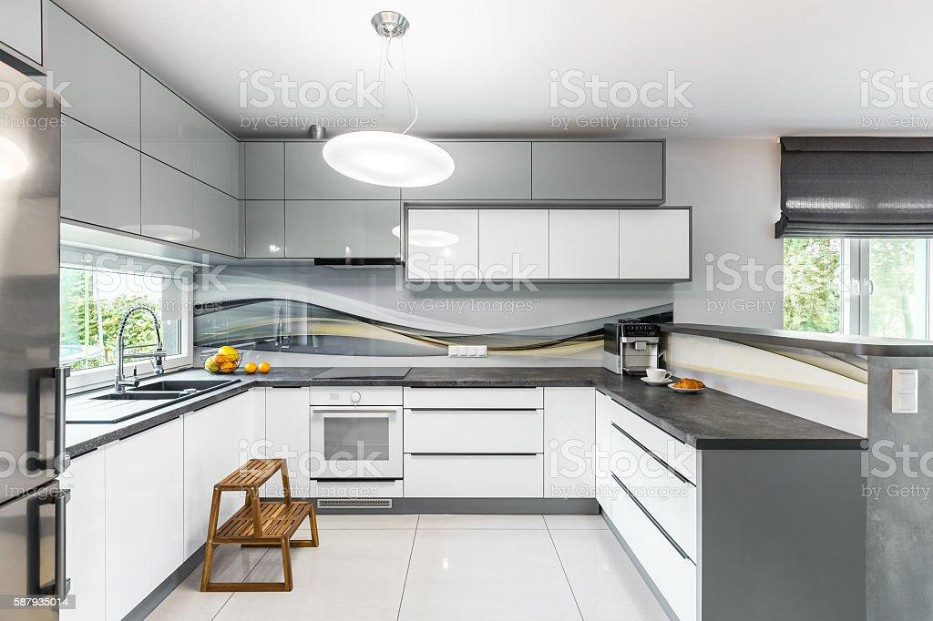 High gloss kitchen idea stock photo