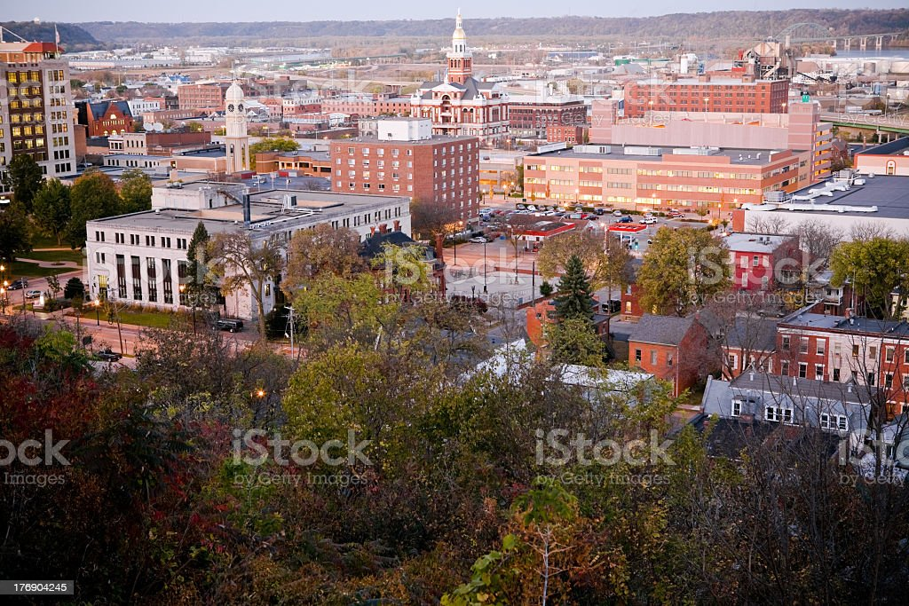 High ground view of the buildings of downtown Dubuque, Iowa stock photo