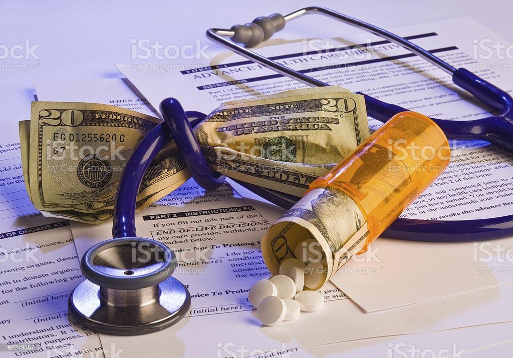 High healthcare cost, advanced care directive stock photo