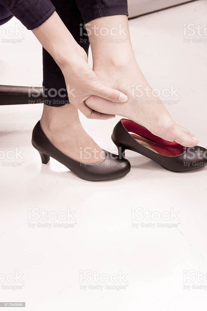 high heel related injuries stock photo