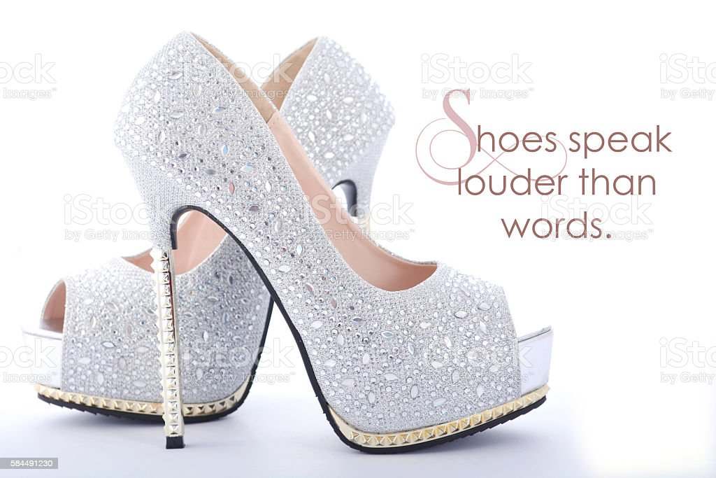 High Heel rhinestone shoes with funny saying stock photo