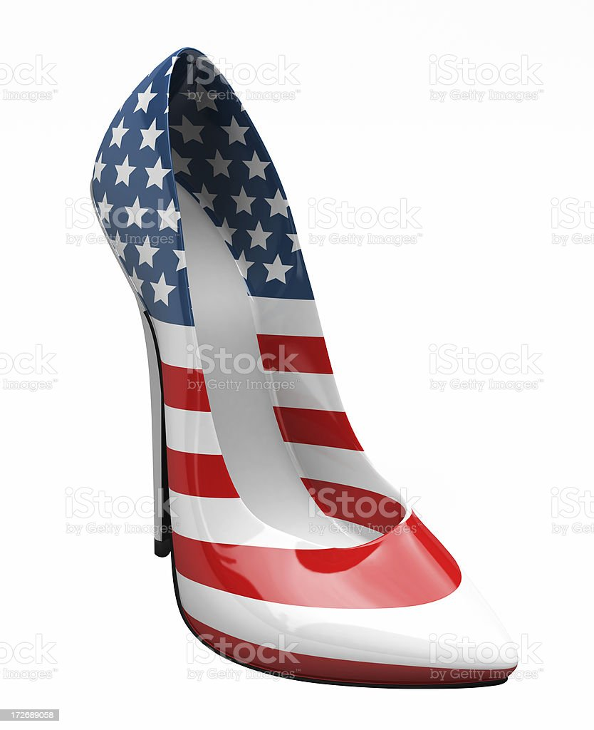 3D USA High Heel Shoe stock photo