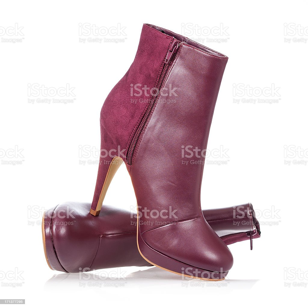 High heels ankle boot in dark red stock photo