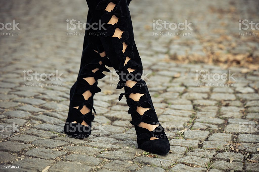 high heels boots stock photo
