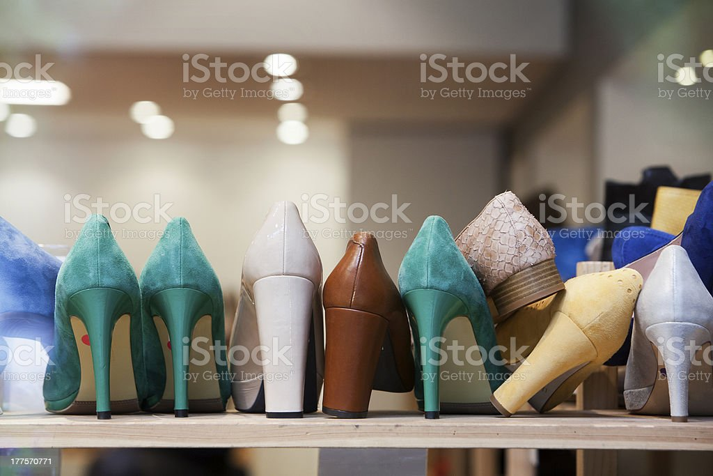 High Heels in the shoe store stock photo