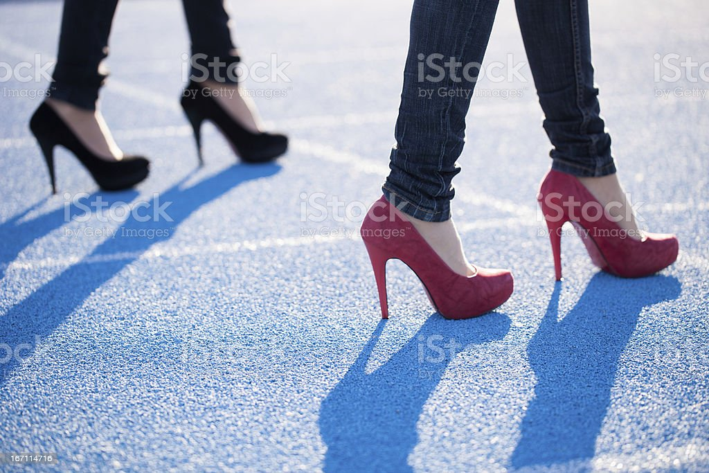 High Heels On The Running Track - Concept royalty-free stock photo