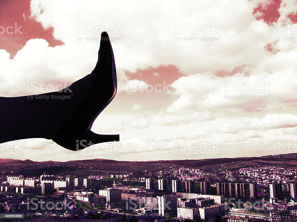 High heels over the city stock photo