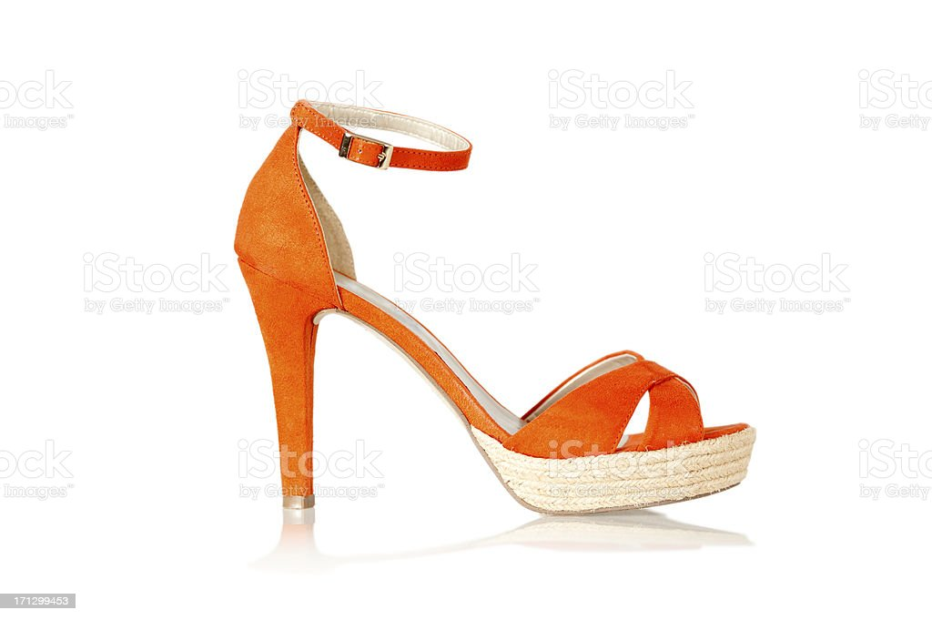 High Heels sandals with straps and cork soles royalty-free stock photo
