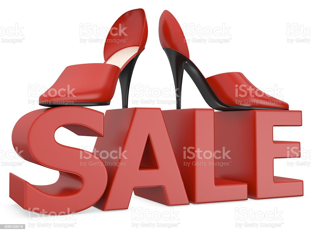 3D High Heels Shoes on Sale Word stock photo