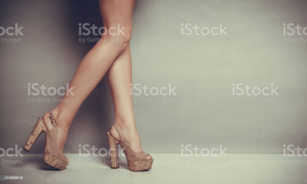 high heels shoes on sexy female legs stock photo