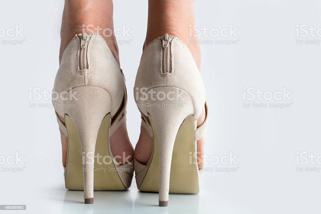 high heels zipped up directly behind stock photo