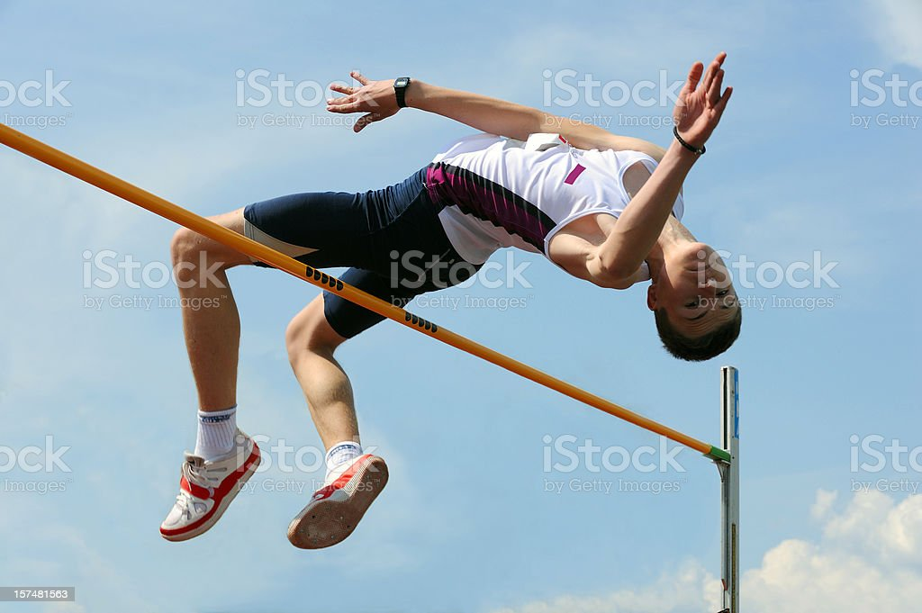 High jump athlete stock photo